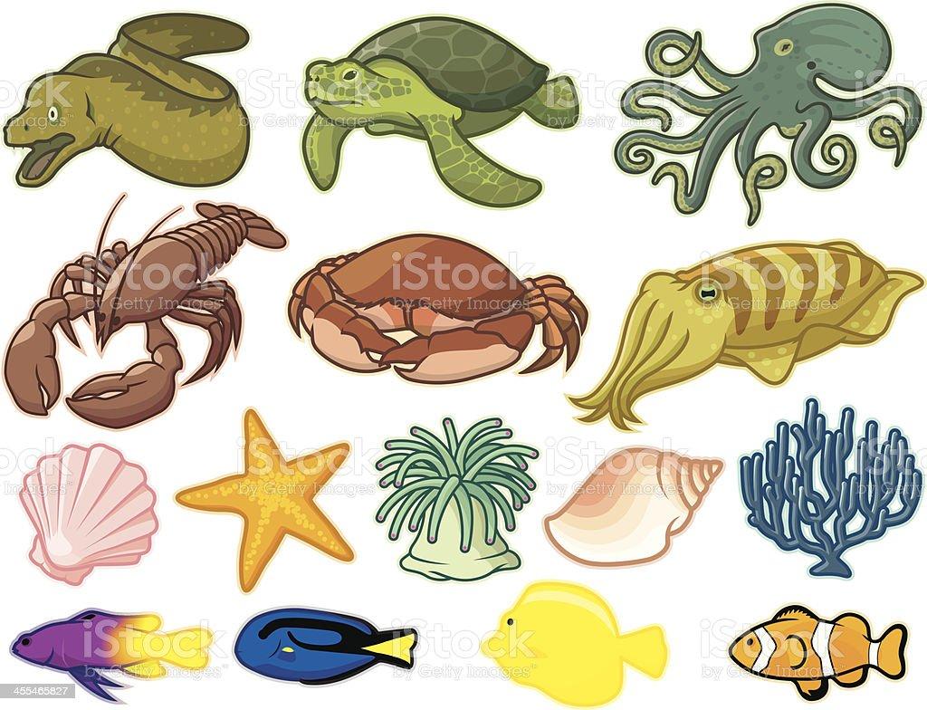 Sea Creatures vector art illustration