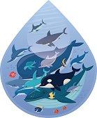 vector illustration of happy sea creatures in drop….