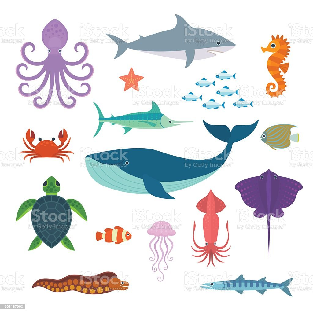 Sea Creatures. vector art illustration