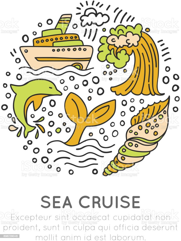 Sea cruise hand draw cartoon icon concept. Waves, liner or ship, whale, dolphin icon wit decorative elements in circle. Seashell and sealife travel isons vector art illustration