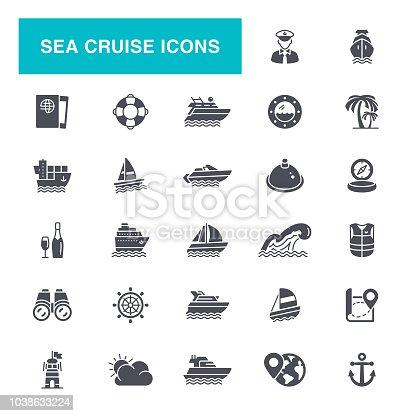 Nautical Vessel, Ship, Cruise Ship, Passenger Ship, Navigational Compass, Icon Set