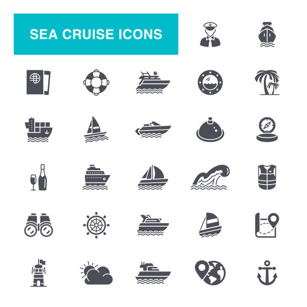 Sea Cruise Icons Nautical Vessel, Ship, Cruise Ship, Passenger Ship, Navigational Compass, Icon Set hooikoorts stock illustrations