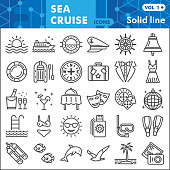Sea cruise line icon set, voyage symbols collection or sketches. Vacation and travel linear style signs for web and app. Vector graphics isolated on white background