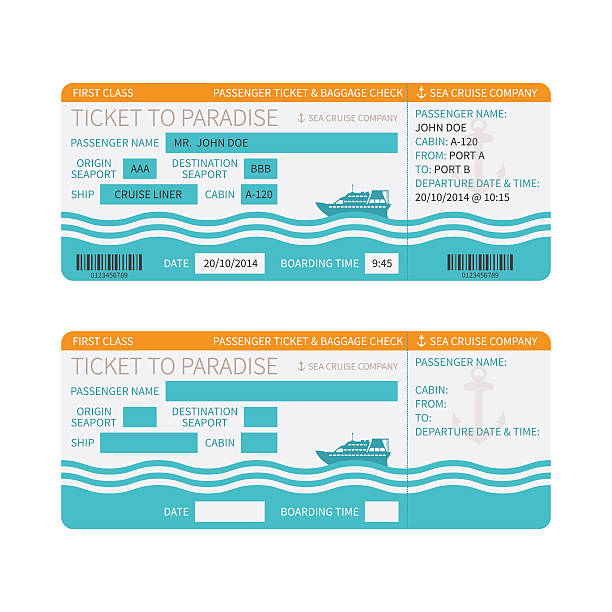Sea cruise ship boarding pass or ticket template Sea cruise ship boarding pass or ticket template cruise vacation stock illustrations