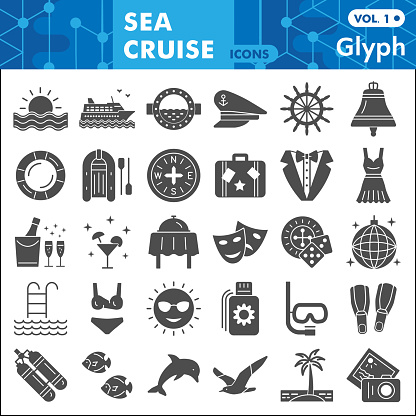 Sea cruise solid icon set, voyage symbols collection or sketches. Vacation and travel glyph style signs for web and app. Vector graphics isolated on white background.