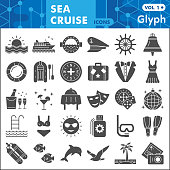 Sea cruise solid icon set, voyage symbols collection or sketches. Vacation and travel glyph style signs for web and app. Vector graphics isolated on white background