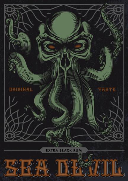 """seeteufel"", alkohol-label-design. - kalamar stock-grafiken, -clipart, -cartoons und -symbole"