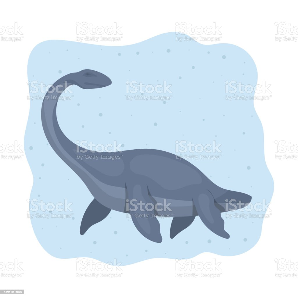 Zee dinosaurus pictogram in cartoon stijl geïsoleerd op een witte achtergrond. Dinosaurussen en prehistorische symbool voorraad vectorillustratie. - Royalty-free Antiek - Toestand vectorkunst