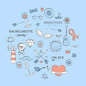 Vector illustration of sea doodle hipster set over light blue. Hand drawn background.