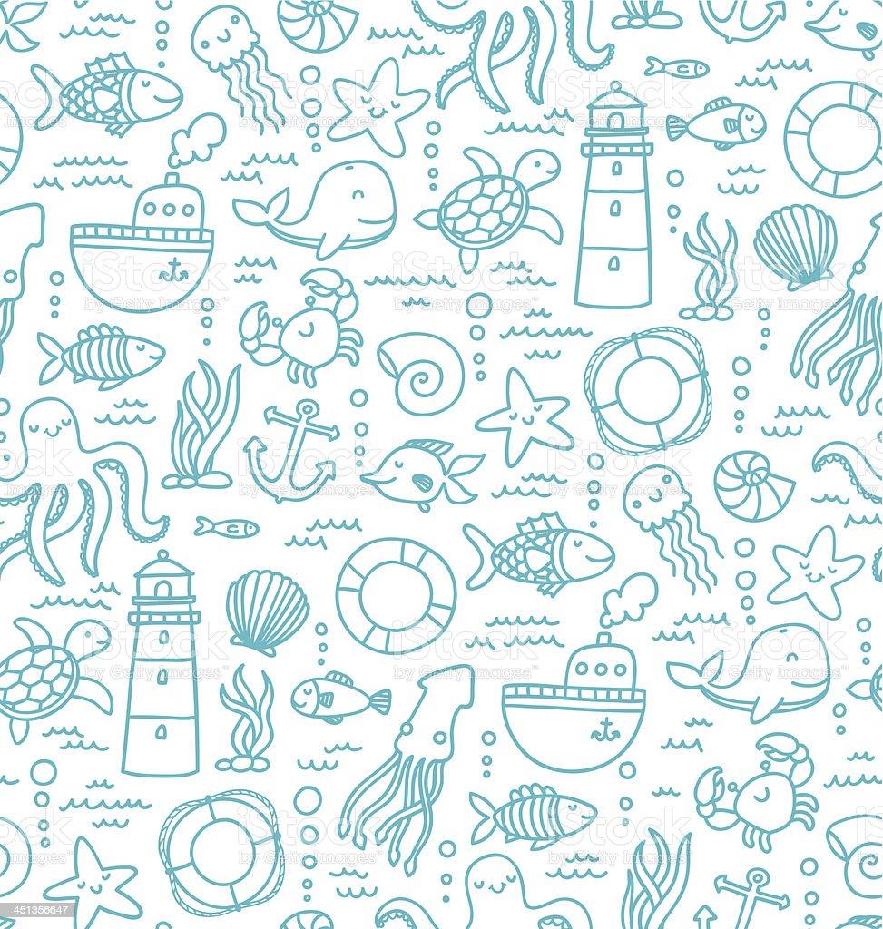 Sea doodles royalty-free stock vector art