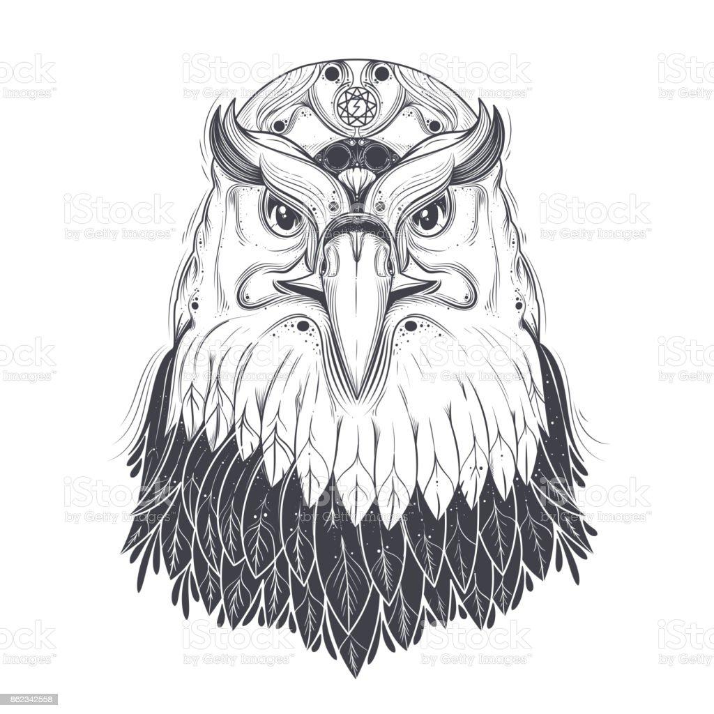sea eagle with pagan runic symbols vector stock