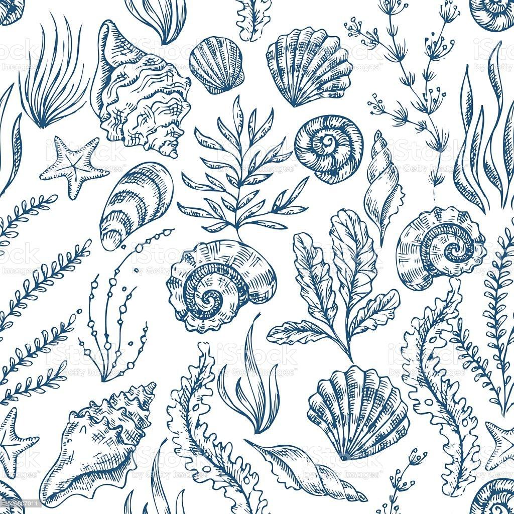 Sea Elements Seamless Pattern vector art illustration