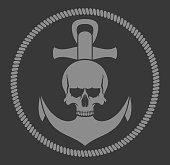 The illustration shows the marine emblem. Anchor, rope, skull in gray on a black background