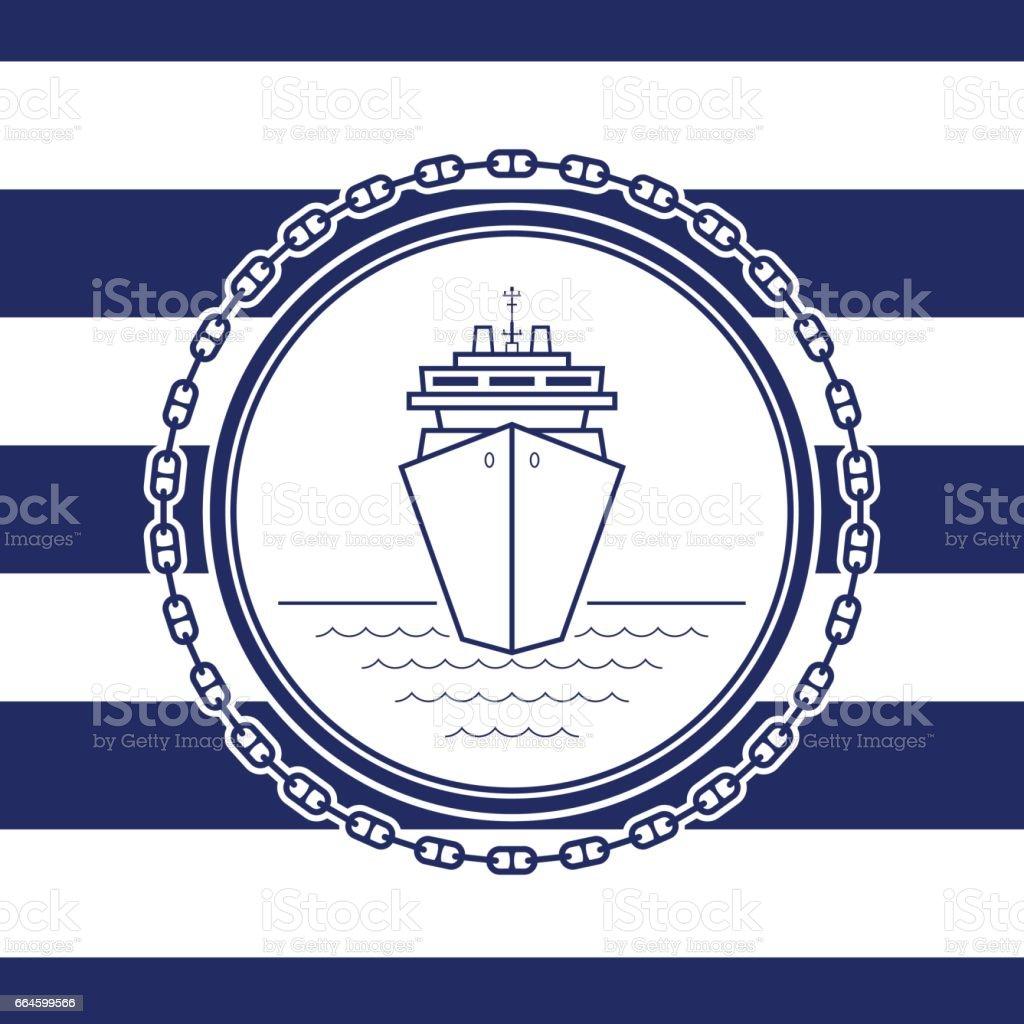 Sea Emblem with a Liner vector art illustration