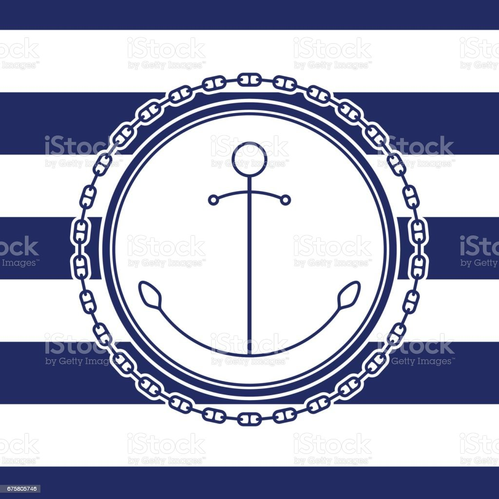 Sea Emblem with Anchor vector art illustration