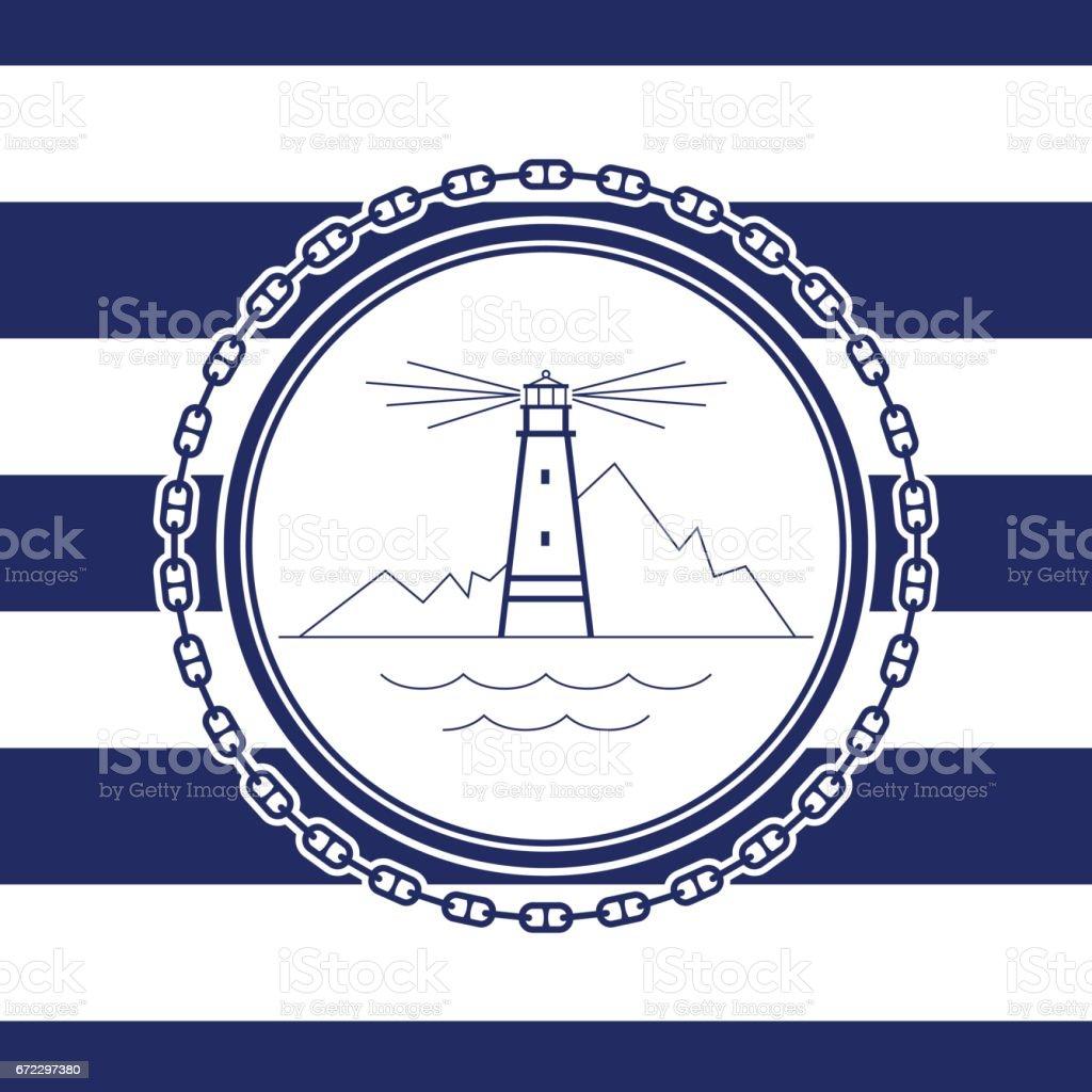 Sea Emblem with Lighthouse vector art illustration