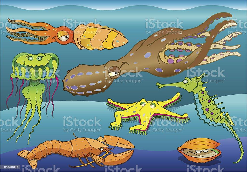 Sea Fauna I royalty-free stock vector art