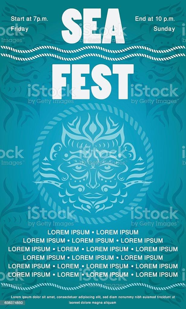 Sea festival invitation flyer with tattoo-style poseidon or neptun face. vector art illustration