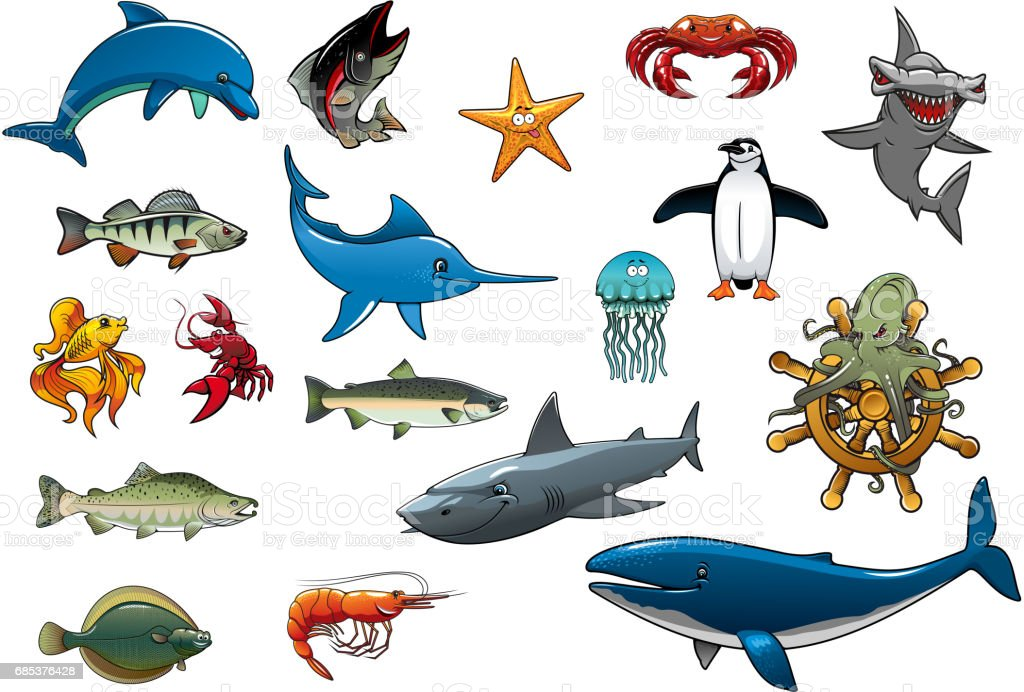 Sea fish and ocean animals cartoon vector icons sea fish and ocean animals cartoon vector icons - arte vetorial de stock e mais imagens de animal royalty-free