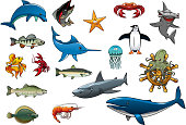 Sea fish and ocean animals cartoon vector icons