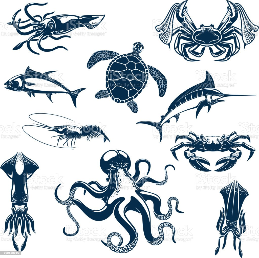 Sea fish and ocean animals vector isolated icons vector art illustration