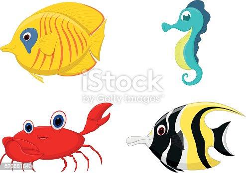 Vector Illustration of Sea fish cartoon set