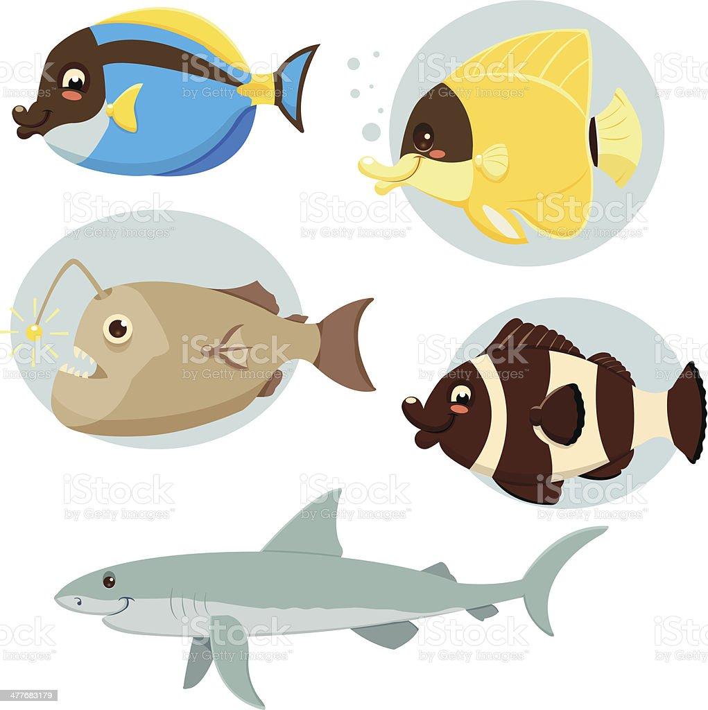 Sea Fish Collection vector art illustration
