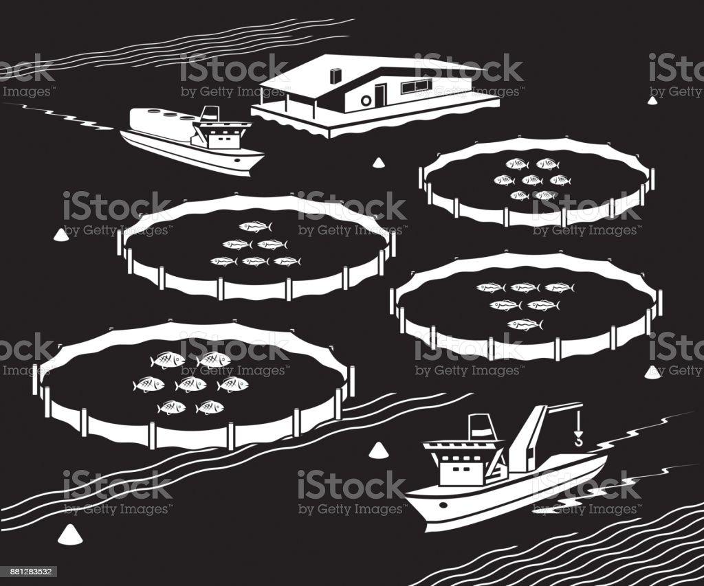Sea fish farm royalty-free sea fish farm stock illustration - download image now
