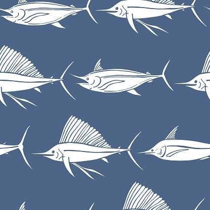Sea fish. Seamless vector pattern
