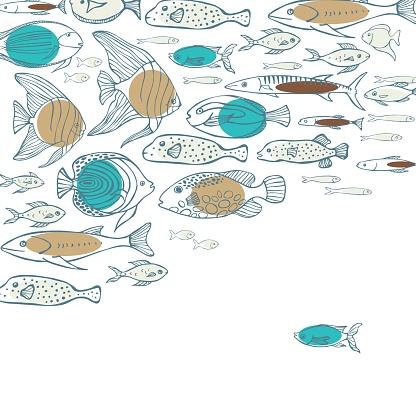 Sea fish.   Vector background.
