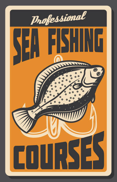 Sea fishing courses retro banner of fish and hook vector art illustration