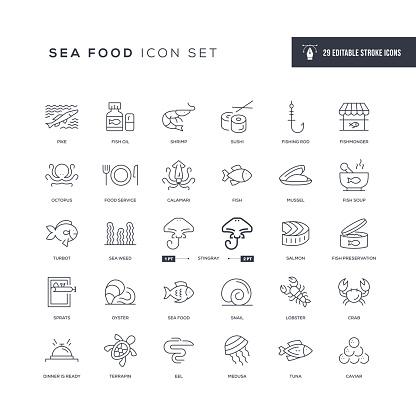 Sea Food Editable Stroke Line Icons