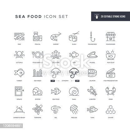 29 Sea Food Icons - Editable Stroke - Easy to edit and customize - You can easily customize the stroke with