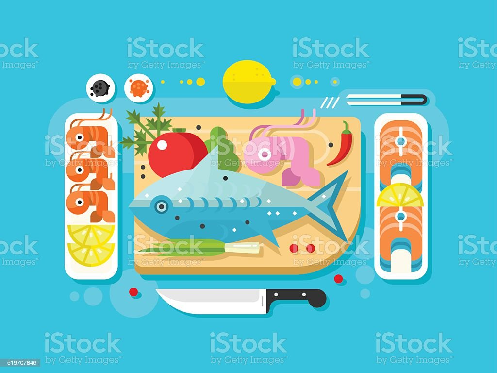 Sea food fish product vector art illustration