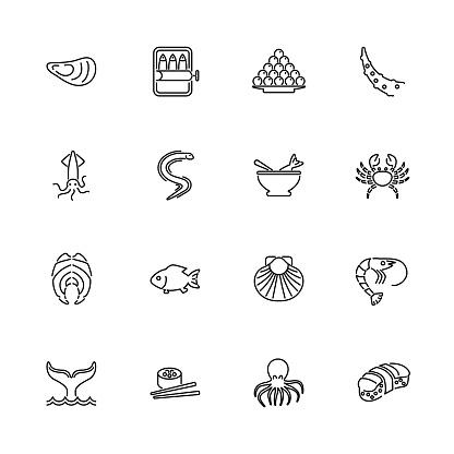 Sea Food - Flat Vector Icons