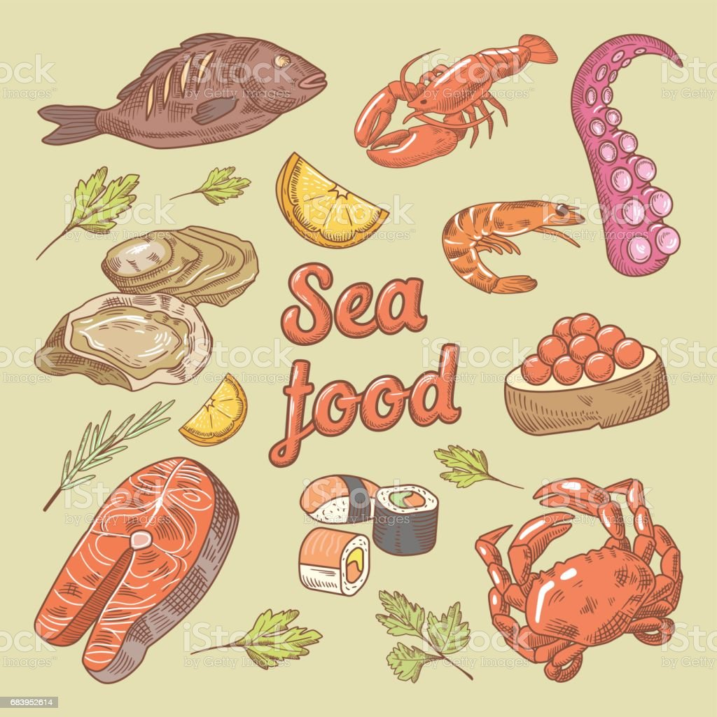 Sea Food Hand Drawn Doodle with Fish, Crab vector art illustration