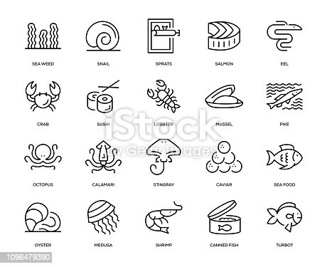 Sea Food Icon Set - Thin Line Series