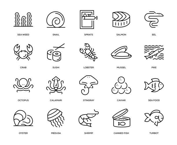 sea food iconset - nahrungsmittelindustrie stock-grafiken, -clipart, -cartoons und -symbole