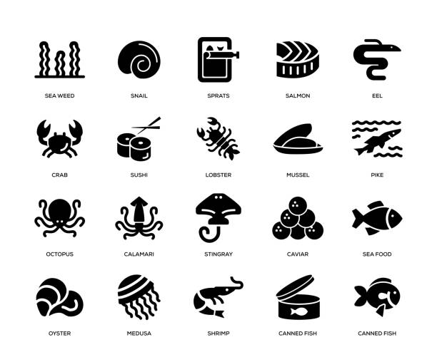 Sea Food Icon Set Sea Food Icon Set mollusk stock illustrations