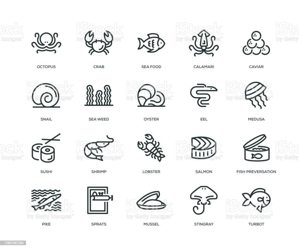 Havet mat ikoner - Line serien - Royaltyfri Bläckfisk vektorgrafik