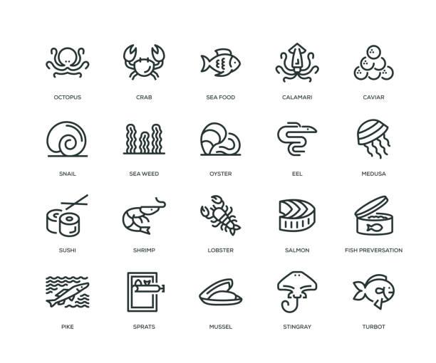 ilustrações de stock, clip art, desenhos animados e ícones de sea food icons - line series - aquacultura
