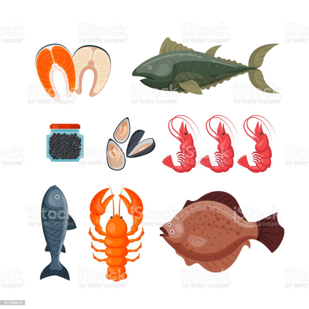 Sea food vector illustration vector art illustration