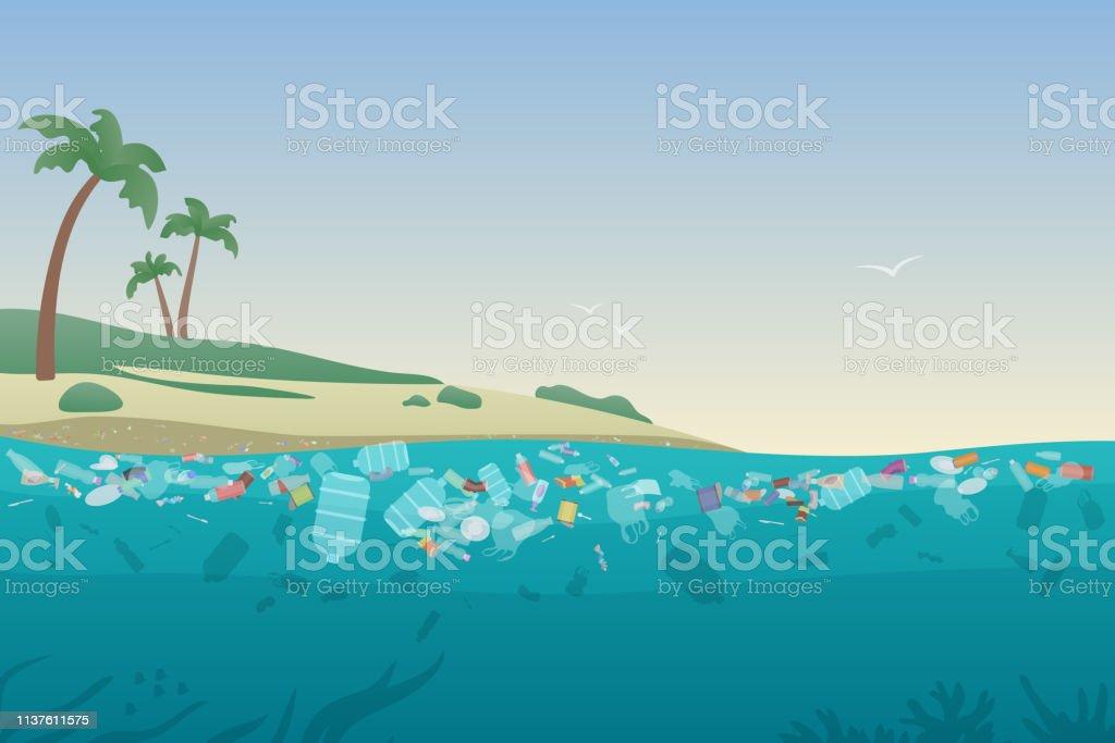 Déchets De Mer Dans Leau Polluée Plage Docéan Sale Avec La