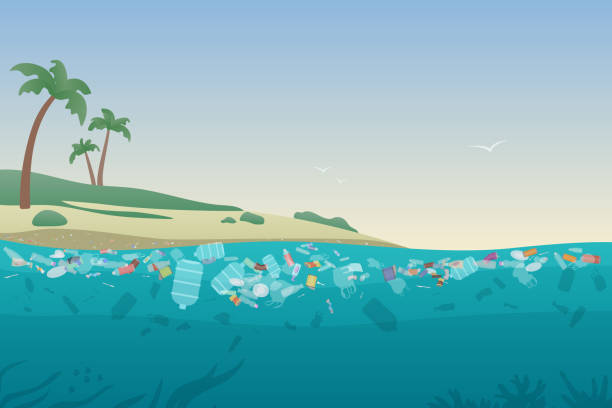 Sea garbage in polluted water. Dirty ocean beach with trash and plastic on sand and under water surface vector illustration concept. Sea garbage in polluted water. Dirty ocean beach with trash and plastic on sand and under water surface vector illustration concept floating on water stock illustrations