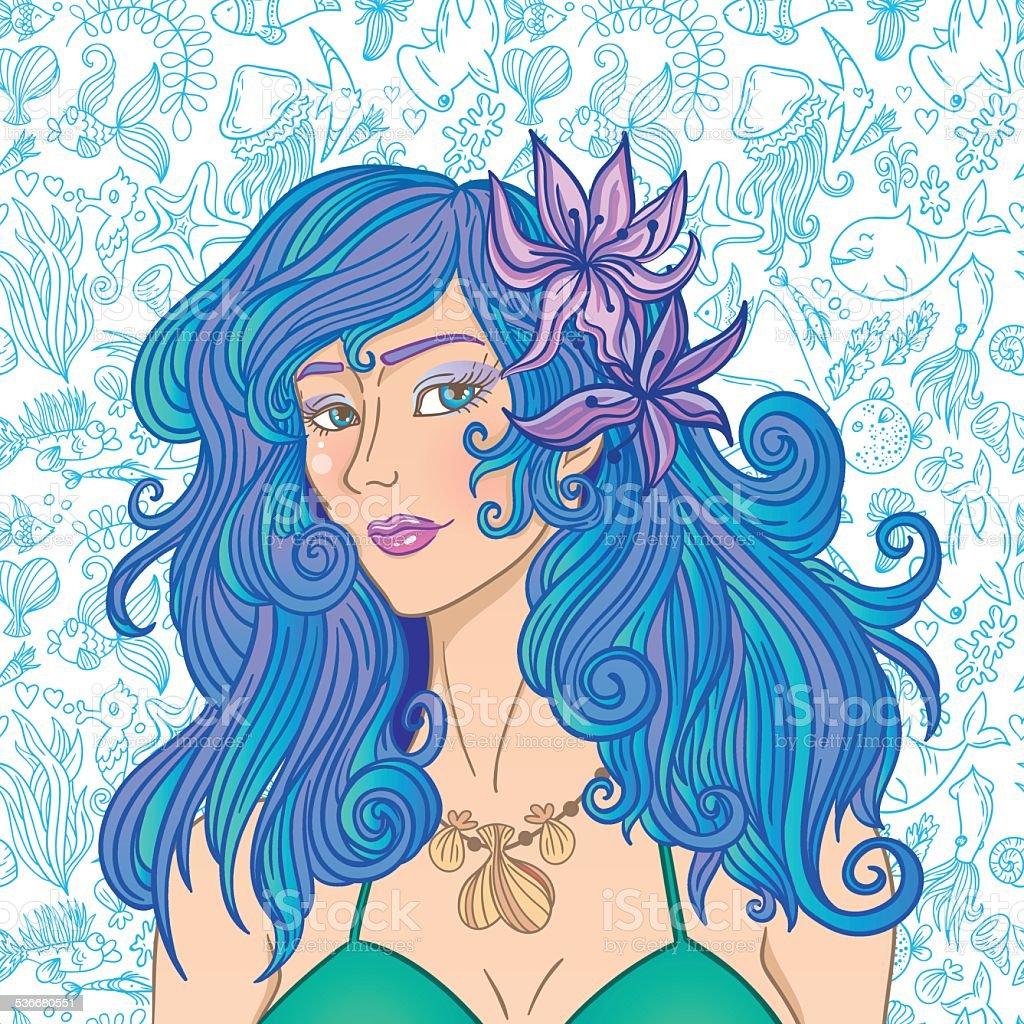Sea girl vector art illustration