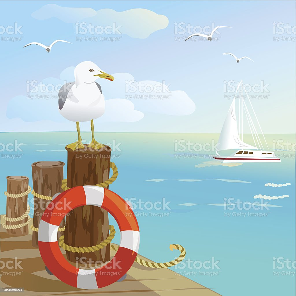 sea, gull, pier, and lifebuoy vector art illustration