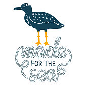 Sea gull simple styling print. Two color. Quote lettering with sea rope. Print for kids t-shirt and sea style souvenirs. Isolated on white background