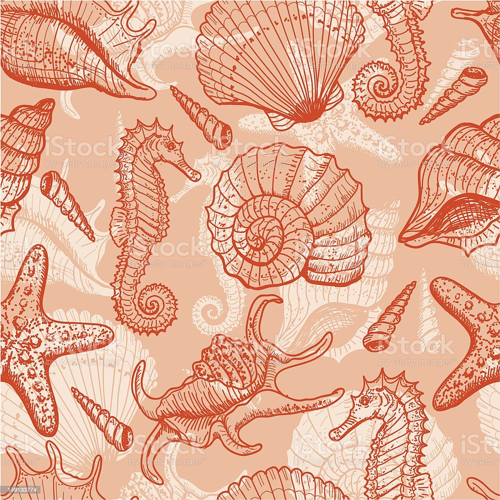 Sea hand drawn seamless pattern vector art illustration