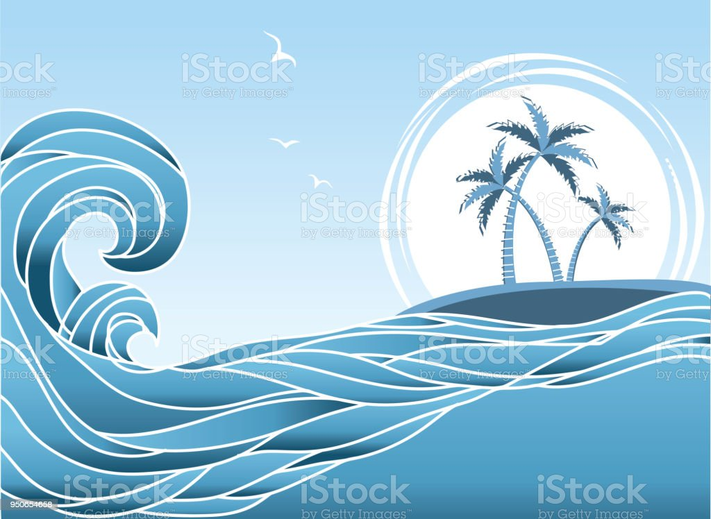Sea horizon with tropical island and palms.Waves background vector art illustration