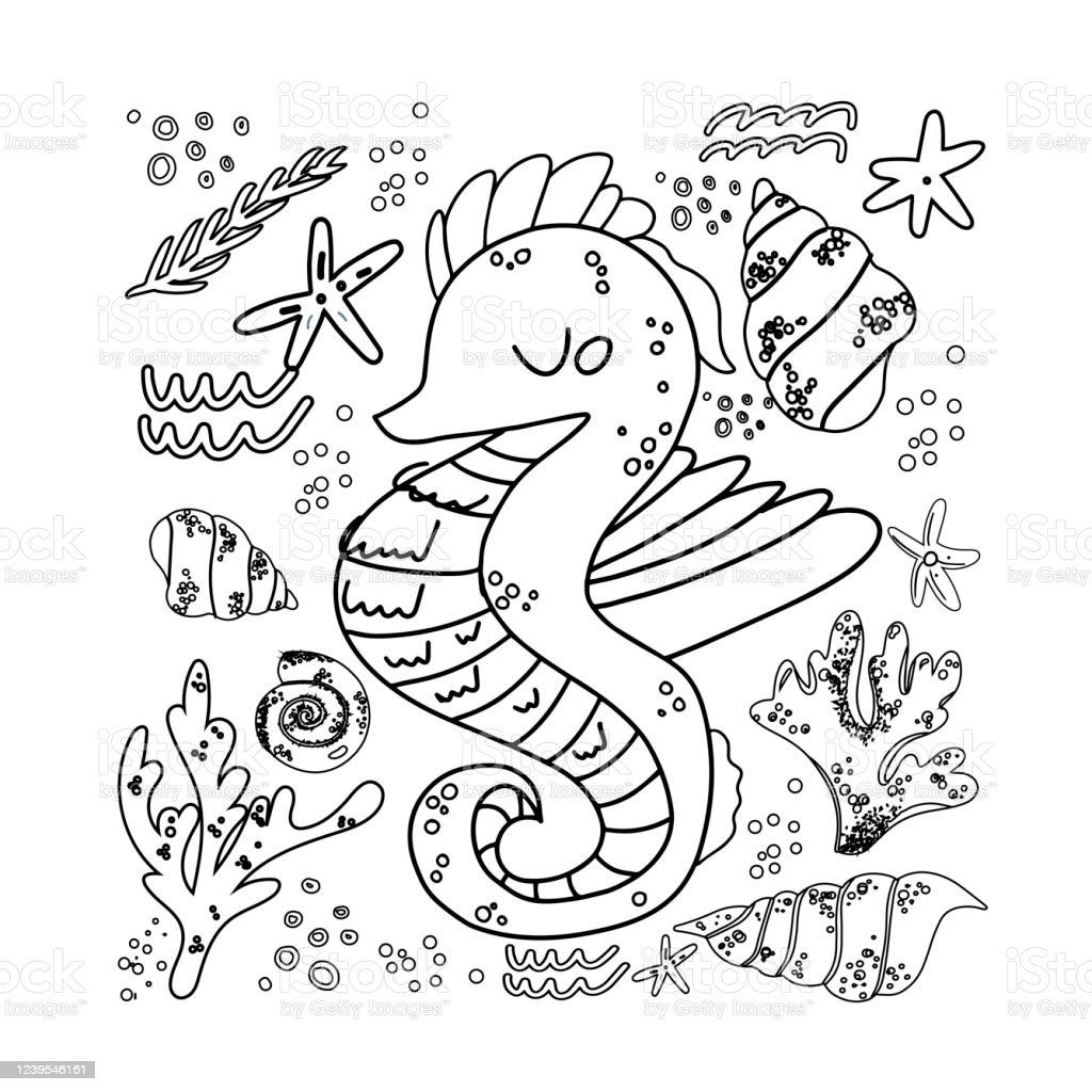 Sea Horse Cute Doodle Hand Drawn Flat Vector Illustration Marine Life Animal Vector Poster Floral Backgroundgrass Branches With Leaves Coral And Spots Design Element Ocean Coloring Page Stock Illustration Download Image